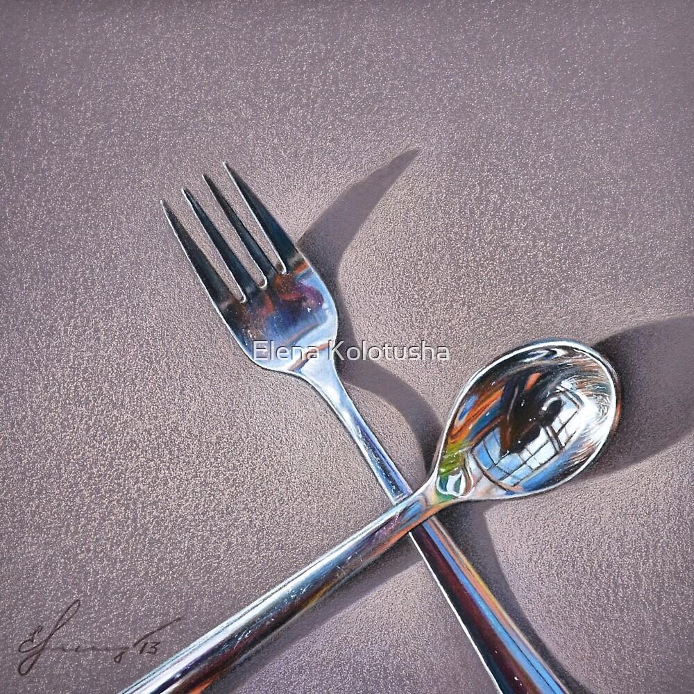 """Spoon & fork - 2"" by Elena Kolotusha"