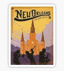 New Orleans The Big Easy Vintage Travel Poster Sticker