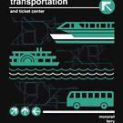 Einschienenbahn, Bus und Fähre von retrocot
