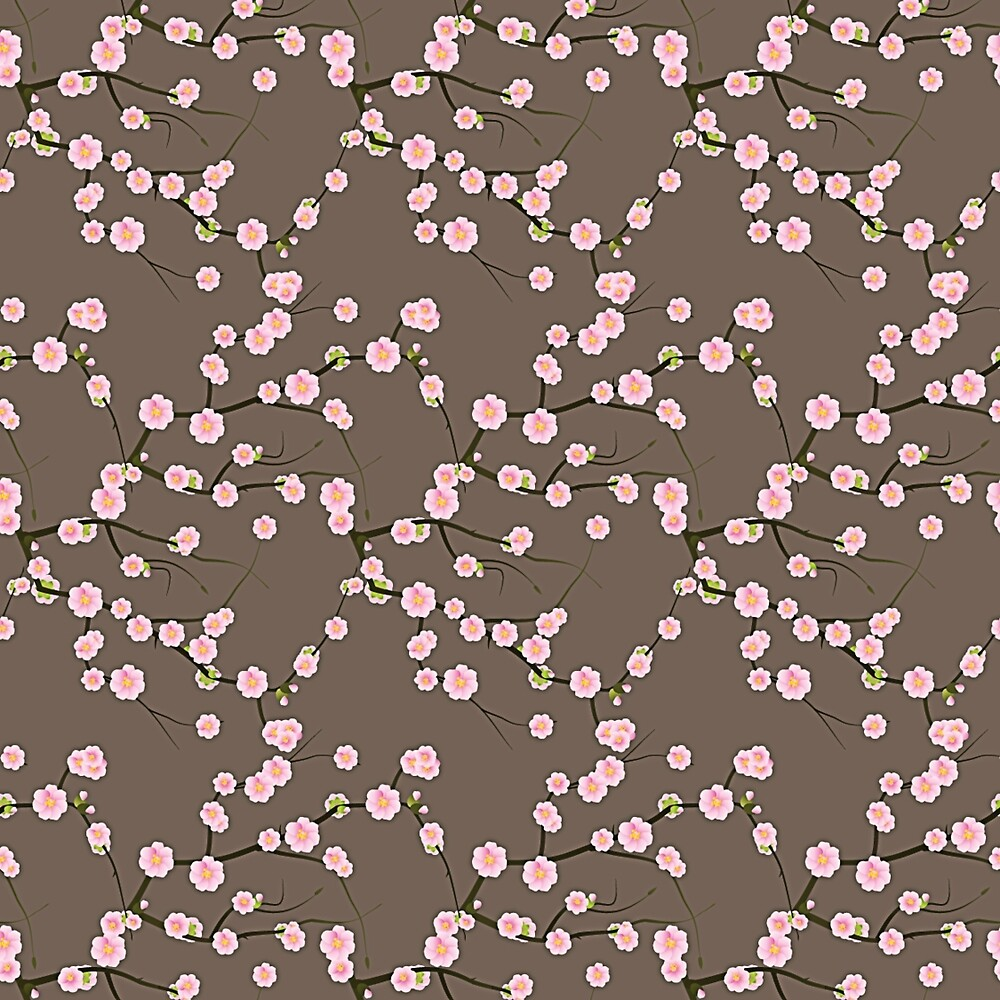 Japanese Pink Cherry Blossom Branches on Taupe by Elaine Plesser