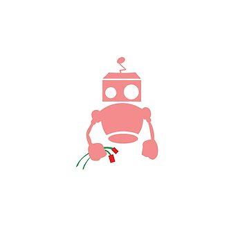 Robots with Roses pink by datathegreat