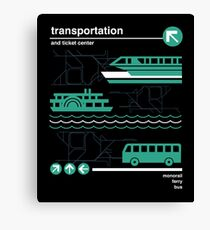 Einschienenbahn, Bus und Fähre Leinwanddruck