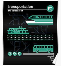 Einschienenbahn, Bus und Fähre Poster