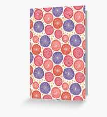 simple white flowers in colorful circles Greeting Card