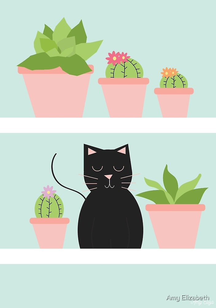 Cat and Cacti by Amy Elizabeth