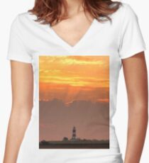 Sun rays over Happisburgh Women's Fitted V-Neck T-Shirt