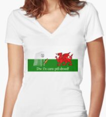 Dw i'n caru pêl-droed! Women's Fitted V-Neck T-Shirt