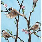 Sparrows in spring by Rebecca Landmér