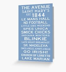 Saint Mary's College Subway Sign Art White on Blue Greeting Card