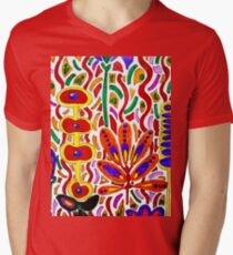 ORANGE AND YELLOW ABSTRACT FLORAL T-Shirt
