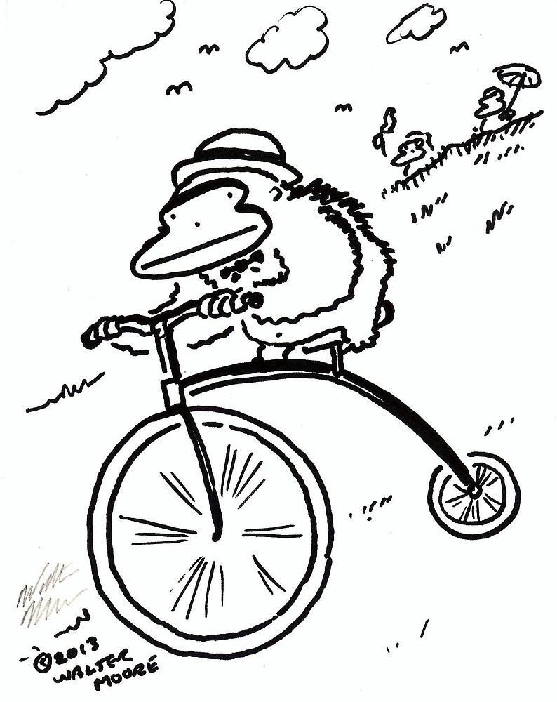 Penny Farthing Ape Hurtles Down the Hill by Walter Moore