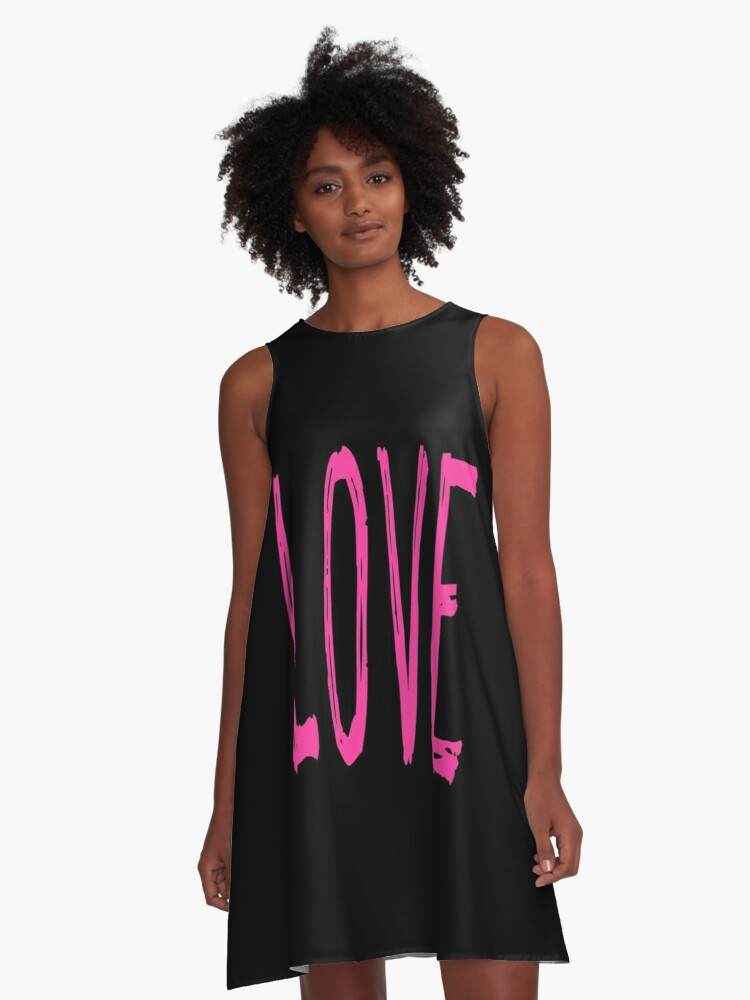 LOVE in Scratchy Font A-Line Dress Front