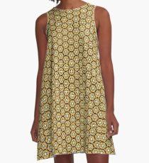 Gold Hexagon Geometric Patterns A-Line Dress
