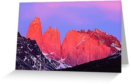 Towers at Sunrise - Torres del Paine, Chile by JamesKaoFoto