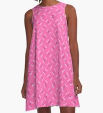 Candy Pink Textile Pattern A-Line Dress