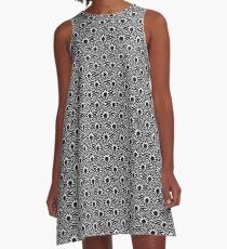 Janina - Black and White Pattern A-Line Dress