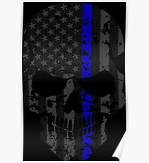 Thin Blue Line Police American Flag Distressed Skull Poster