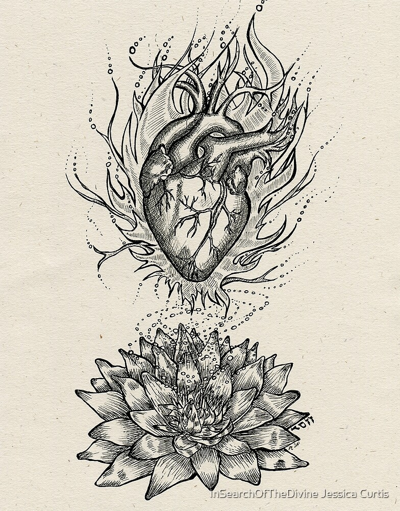 Flaming Lotus Heart - Evolve Love by InSearchOfTheDivine Jessica Curtis