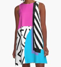 Colorful Retro Memphis Abstract A-Line Dress
