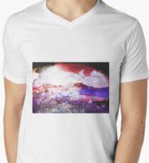 Starry Mountain Scene Mens V-Neck T-Shirt