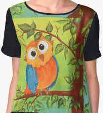 Whimsical Owl Chiffon Top