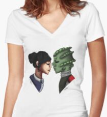 Madame Vastra and Jenny Women's Fitted V-Neck T-Shirt