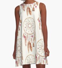 Watercolor Dreamcatcher Pink Khaki A-Line Dress