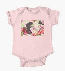 Flying Tuis, Pink Ribbon and Pohutukawas One Piece - Short Sleeve