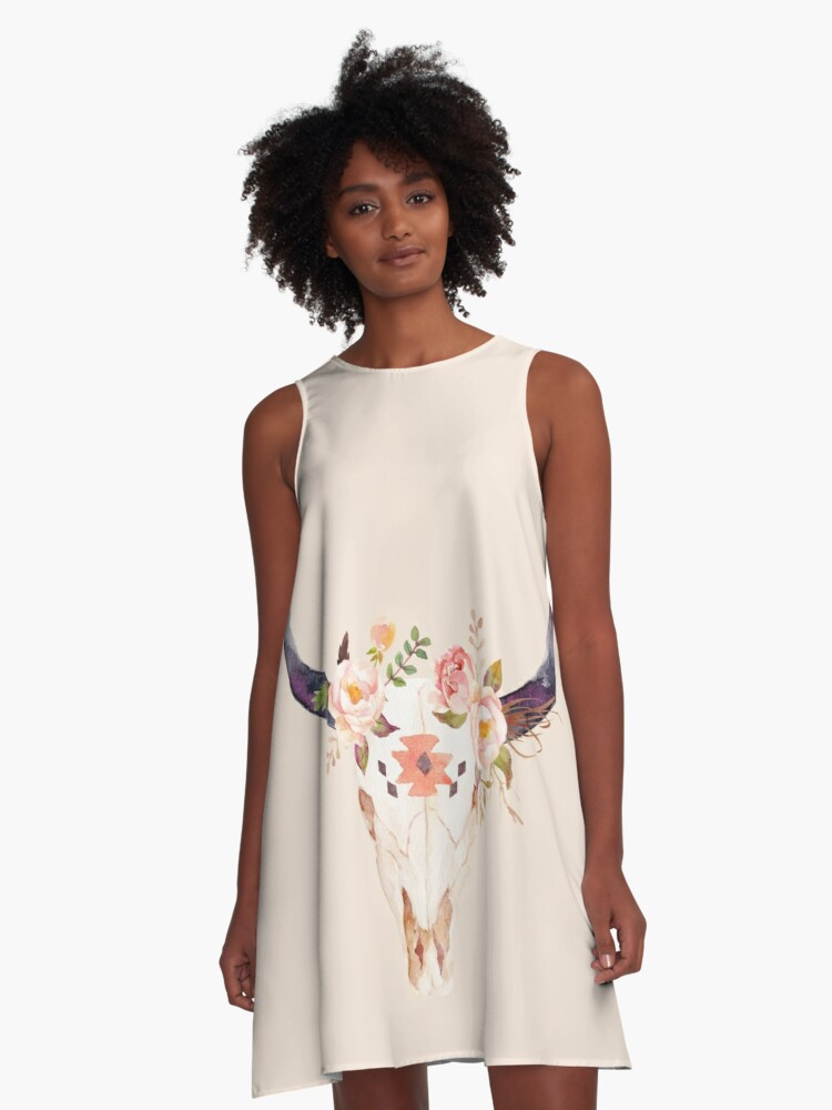 Ethnic Flowers Bull Head  A-Line Dress Front