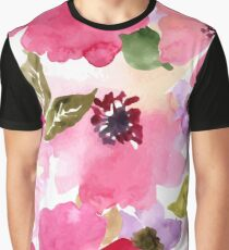 Watercolor Flowers Pink Graphic T-Shirt