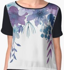 Blue Purple Flowers Women's Chiffon Top