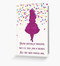Pink glitter confetti bonkers Greeting Card