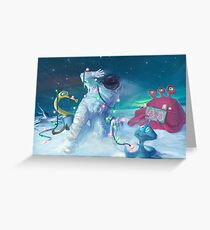 Alien Christmas traditions Grußkarte