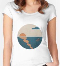 Simplistic Ocean Horizon  Women's Fitted Scoop T-Shirt