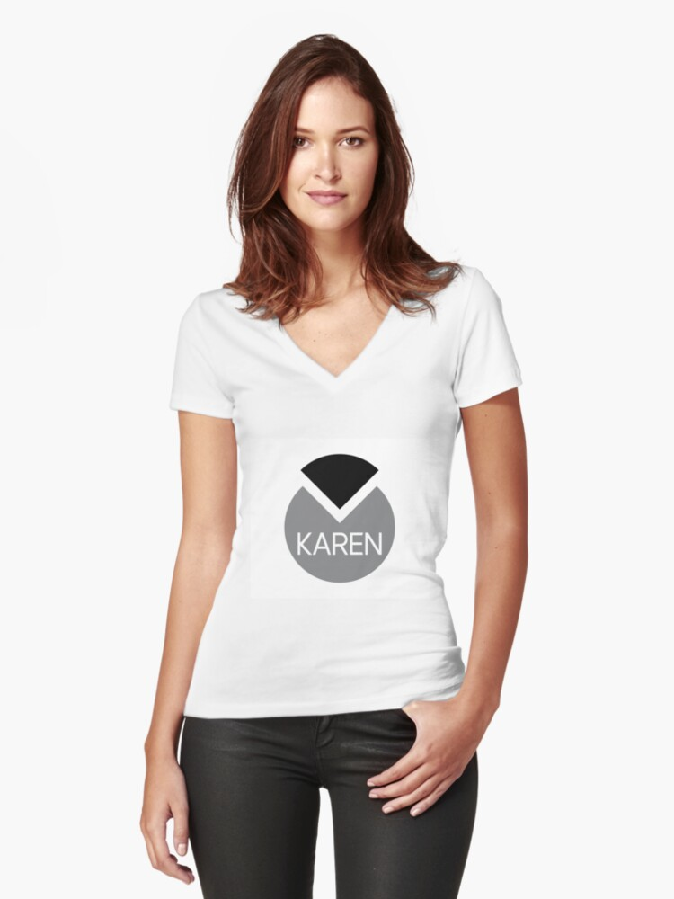 american first name female: Karen Women's Fitted V-Neck T-Shirt Front