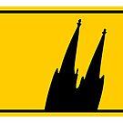 Ortsschild Köln mit schrägem Kölner Dom von theshirtshops
