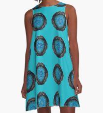 Blue Agate Circles A-Line Dress