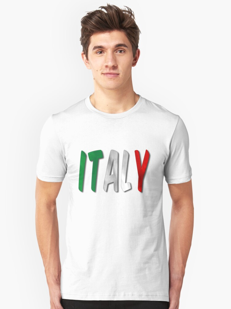 Italy Word With Flag Texture Unisex T-Shirt Front