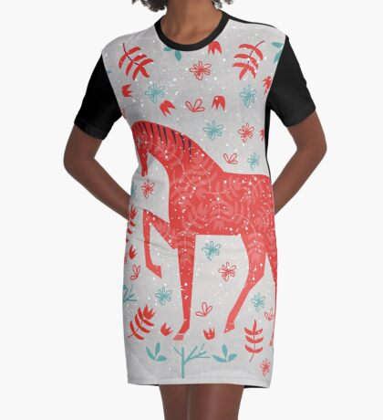 The Red Horse Graphic T-Shirt Dress