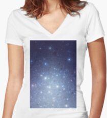 Stars freezing to standstill Tailliertes T-Shirt mit V-Ausschnitt