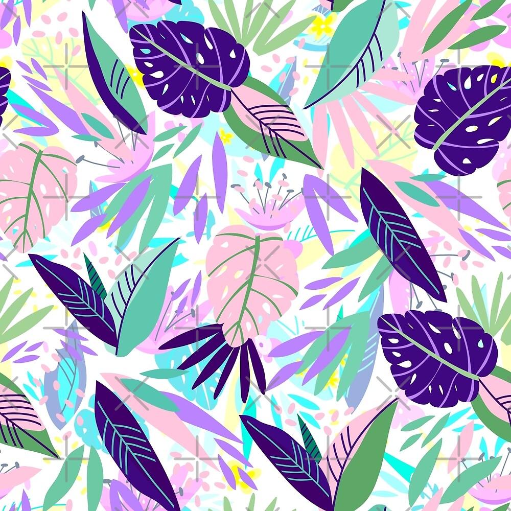 Purple & Pink Tropical Leafs And Flowers Pattern by artonwear
