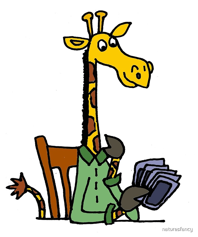 Cool Funky Yellow Giraffe Playing Card game by naturesfancy