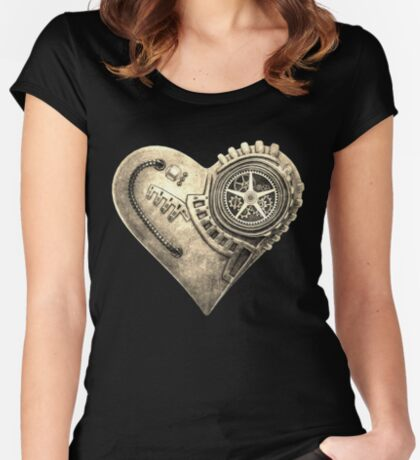 Steampunk Vintage Clockwork Heart Steampunk T-Shirts Women's Fitted Scoop T-Shirt