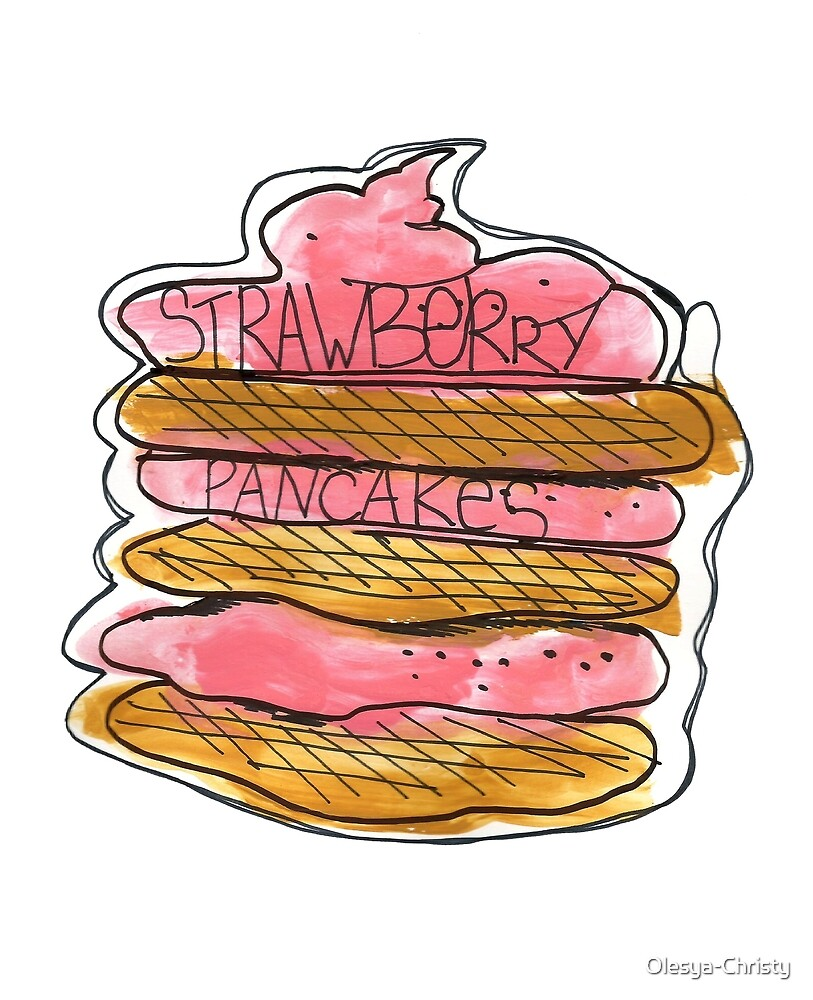 Watercolor acrylic drawing of pancakes with strawberry cream by Olesya-Christy