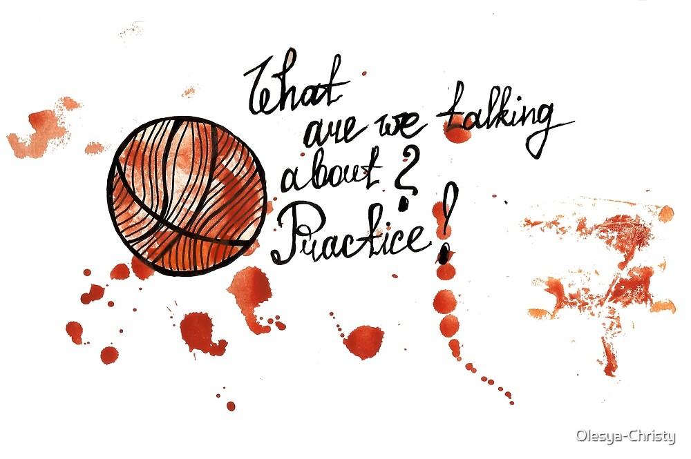Basketball ball watercolor acrylic drawing by Olesya-Christy