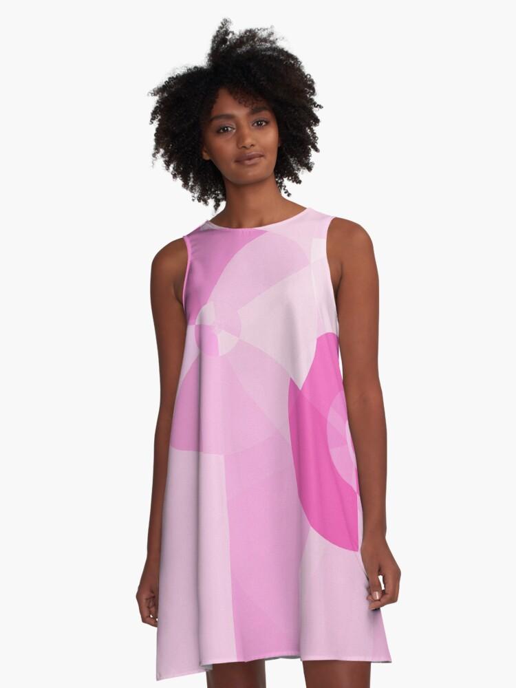 Shades of Pink Pinwheel abstract A-Line Dress Front