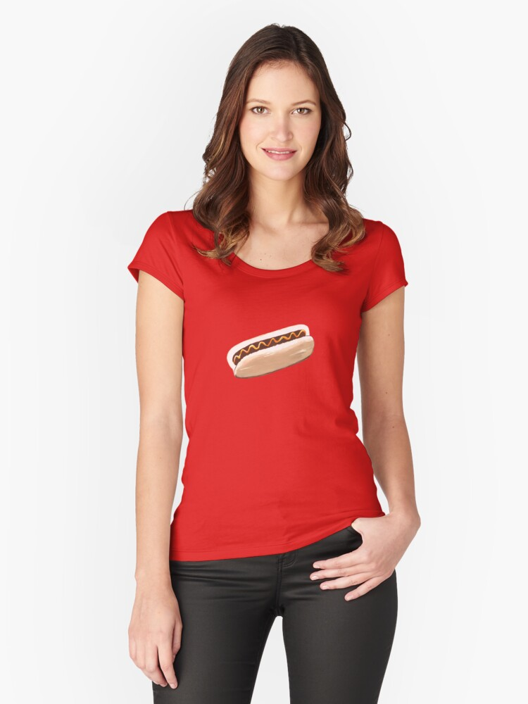 Hot Dog Pattern Women's Fitted Scoop T-Shirt Front
