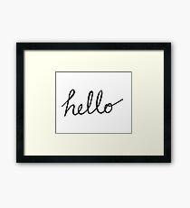 Hello script text font Framed Print