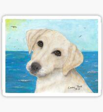Yellow Labrador Lab Dog Beach Cathy Peek Sticker