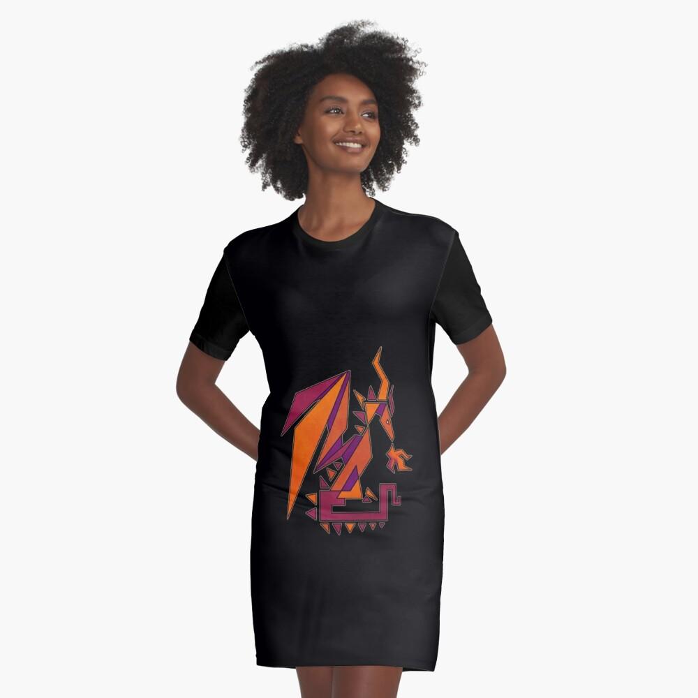 Geometric Dragon Graphic T-Shirt Dress Front